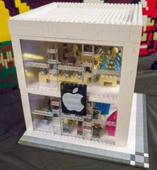 The Lego Apple Store pops up in Christmas Village to help items for Toys for Tots